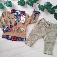 Satu Set Celana & Baju Merk JSP & JUNIOR Size 3-6m