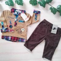 Satu Set Celana & Baju Merk JSP & JUNIOR Size 0-3,3-6,6-9m