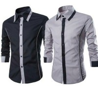 Kemeja Pria ALFONZO / Baju atasan hem 2 warna Black and grey misty