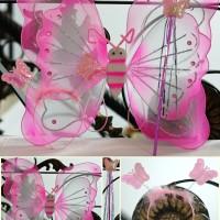 Kostum mainan anak peri sayap kupu-kupu bando tongkat angel karnaval