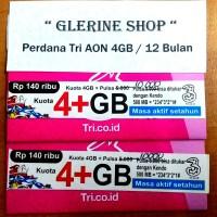 harga Kartu Perdana Internet Tri Three 3 Aon 4GB 4 GB Reguler 12 Bulan 1 Tokopedia.com