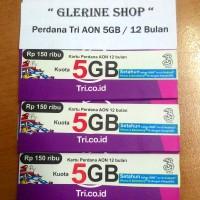 harga Kartu Perdana Internet Tri Three 3 Aon 5GB 5 GB Reguler 12 Bulan 1 Tokopedia.com