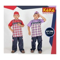 Baju Muslim Anak Laki-Laki Kotak2 Mobil Celana Karet Size 4 - KEKE 298