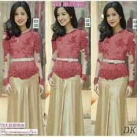 Baju dress Kebaya Vera red set / setelan