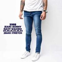 Celana Skinny Jeans Washed Biru Navy Jeans Stretch Distro
