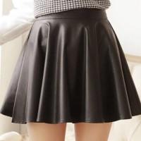 Flare Skirt Kulit Leather Flare midi A line slim langsing rok bawahan