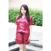 Maroon Silk Sleepwear Pajamas Piyama Piama Baju Tidur Satin Merah