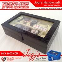 JUMBO Size Kotak Tempat Jam Tangan Isi 10 / Watch Box Black Crocodile