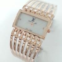 Jual jam tangan cewek LV gelang sisir rose gold Murah