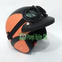 harga Helm Retro Orange Hitam Sni Plus Kacamata Goggle Dan Pet Tokopedia.com