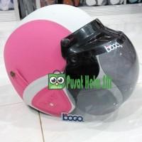 Helm Retro Kulit Pink Putih SNI - Kacamata plus Kaca BOGO IMPOR Asli