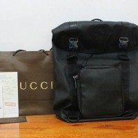JUAL TAS RANSEL BACKPACK GUCCI GG SUPREME CANVAS BACKPACK LARGE HITAM