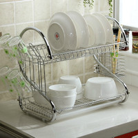 Dish Rack 2 Tier Stainless Steel Dish Drainer/Rak piring 2 tingkat New