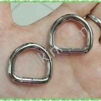 12 Pc Ring D Tinggi untuk Tali Tas 2cm warna Silver Nikel