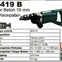Makita 8419 B Bor Beton Tembok Impact Drill 2 Speed Made In Japan