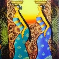 Lukisan Sriyadi 2 Orang Gadis Bali membawa Sesajen Dikepala Kanvas sj