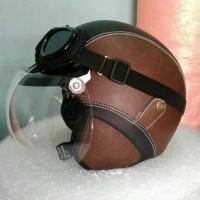 helm bogo retro kulit classic hitam coklat kaca bogo ori + kacamata