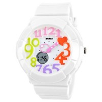 SKMEI Casio Women Sport LED Watch Water Resistant 50m - AD1020 - White