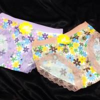 Jual Celana Dalam Murah Cantik Renda Bunga Ungu Cokelat Murah