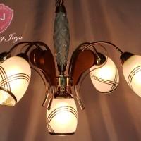 Jual Lampu Gantung Kaca Kayu - Gold [Free Bohlam LED] Murah