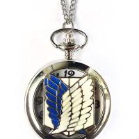Pocket Watch Necklace Kalung Jam Saku Vintage Attack on Titan Silver