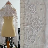 Kerudung akad nikah putih payet mutiara Veil ijab kabul kebaya wedding