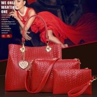 tas tangan clutch bahu handbag hitam simple merah ungu wanita 3 in 1