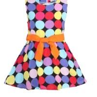 Chloe's Clozette Dress Anak- DA-06- Hitam Polkadot multi color