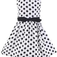 Chloe's Clozette Dress Anak- DA-08- Putih Polkadot Hitam