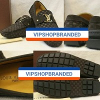 JUAL SEPATU LOAFERS LOUIS VUITTON LV KULIT SUEDE COKLAT MIRROR QUALITY
