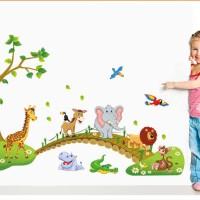 Jual WALLSTICKER/WALL STIKER TRANSPARAN 60X90 ABC1041-CROSSING ANIMAL Murah