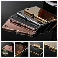 Case Sony Xperia M4/M4 Aqua Metal Bumper Mirror Slide Back Cover