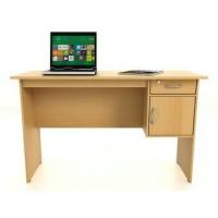 Meja Kantor dengan Laci - Coklat Muda