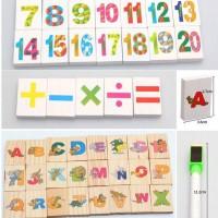 Mainan Bayi Anak - Wooden Domino Magnetic