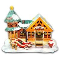 Jual 3D Puzzle Bangunan Ukuran Besar Mainan Edukasi Anak Rumah Santa DF-010 Murah