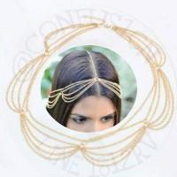 Chain headband crown golden wave