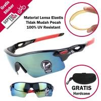 Kacamata Sepeda Anti UV Lensa Pelangi Biru Frame Hitam