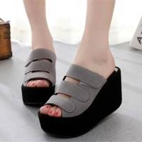 Sepatu Sandal Wedges Black Wanita Cewek Pesta Toko Online Harga Murah
