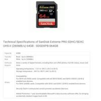 SanDisk Extreme PRO SDHC / SDXC UHS-II (280MB / S) 64GB SDSDXPB-064GB Bla