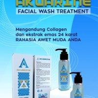 Akuarine facial wash ekstrak emas 24K sabun wajah bonus Travel Agen