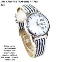 jam tangan wanita canvas strap line hitam 234 full set