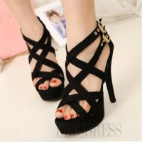 Sandal High Heels Wanita Hitam Tali SDH25