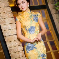 384 - New Slim sequined gold jacquard cheongsam dress with blue flower