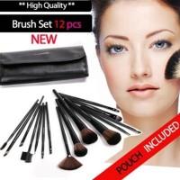 BRUSH SET 12PCS With Leather Pouch / Kuas mac 12 set Best Seller