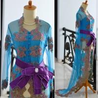Kebaya Pengantin Modern Ekor biru turkish wedding dress model oby