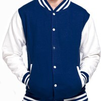 Jual Jaket Baseball / Varsity Kancing Polos Cotton Fleece Dongker - Putih Murah