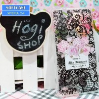 Sony Xperia C4 - Softcase Custom Case Softclear Lace Black Flower Nama
