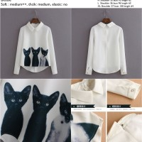 cat print blouse S,M,L,XL - 20717