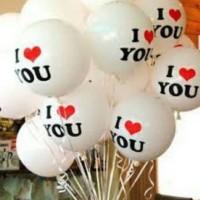 Balon Karet Bulat tulisan I Love You (GROSIR)