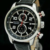 Jam Tangan Nautica Chronograph Tali Kulit